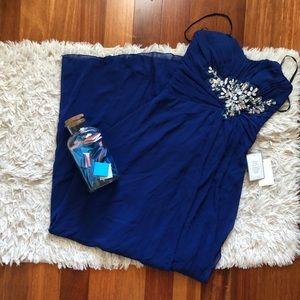 BRAND NEW: Deep blue jeweled long dress